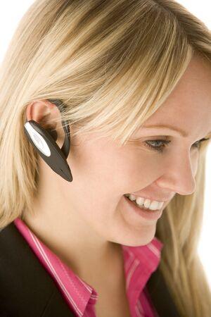 hands free phone: De negocios hablando por tel�fono manos libres