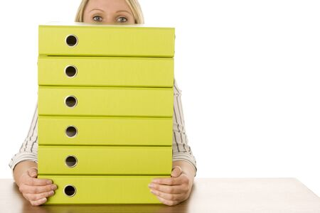 Businesswoman With Stack Of Folders Stock Photo - 4444431