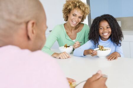 9 year old: Family Eating A meal,mealtime Together