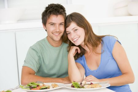 19 year old: Young Couple Enjoying meal,mealtime Together
