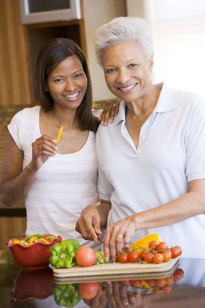 mealtime: Mother And Daughter Preparing meal,mealtime Together
