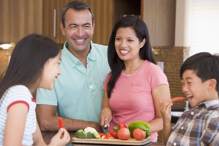 mealtime: Family Preparing meal,mealtime Together  Stock Photo