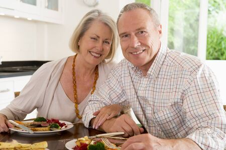 mealtime: Elderly Couple Enjoying meal,mealtime Together