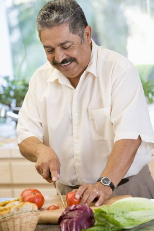 Man Chopping Vegetables Stock Photo - 4445061