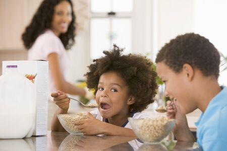 Children Eating Breakfast photo