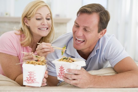 Couple Eating Takeaway meal,mealtime Together photo