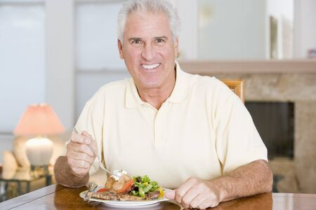 mealtime: Man Enjoying Healthy meal,mealtime