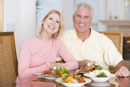 mealtime: Elderly Couple Enjoying Healthy meal,mealtime Together