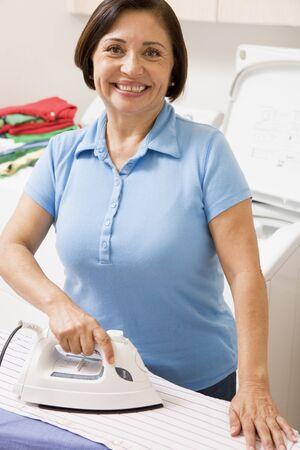woman ironing: Woman Ironing Shirt