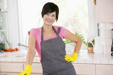 Woman Wearing Rubber Gloves photo