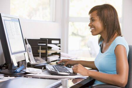 Teenage Girl Using Desktop Computer  photo