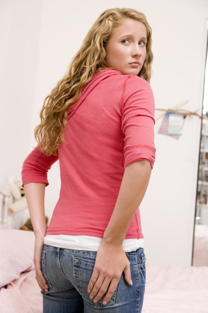 Teenage Girl Worried About The Size Of Her Behind Stock Photo - 4446743