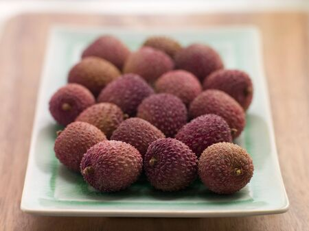 lychees: Plate of fresh lychees