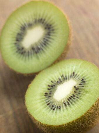 halved: Halved kiwi fruit