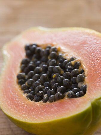 halved: Halved papaya Stock Photo