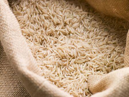 Basmati rice in sack Stock Photo - 4461693