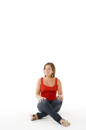 legs folded: Portrait Of Teenage Girl