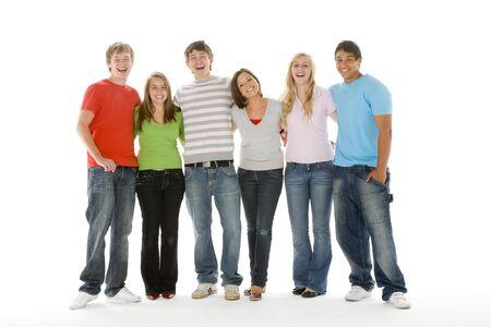 multi ethnic groups: Portrait Of Teenage Girls And Boys Stock Photo