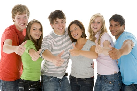 group of teens: Portrait Of Teenage Girls And Boys Stock Photo
