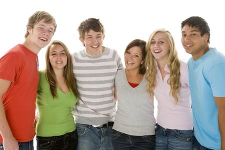 Retrato de las adolescentes y los niños