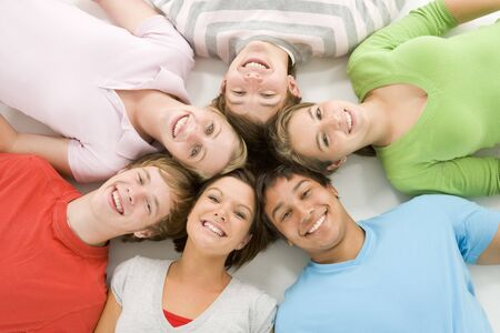 above 18: Portrait Of Teenage Girls And Boys Stock Photo