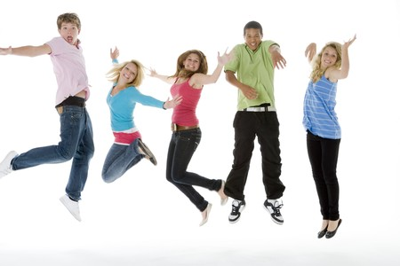 mid teens: Teenagers Jumping In The Air