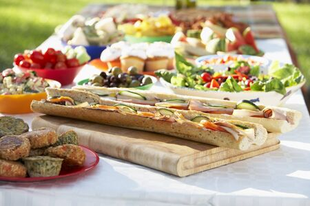 Al Fresco Dining, With Food Laid Out On Table photo