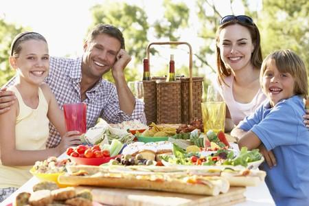 adult sandwich: Family Dining Al Fresco Stock Photo