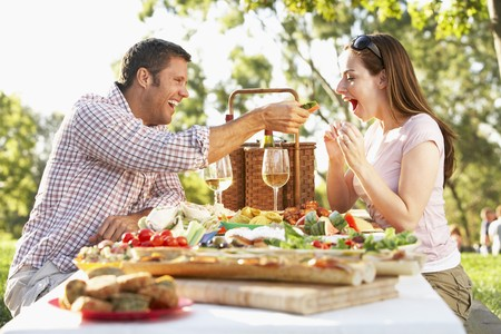 adult sandwich: Couple Eating An Al Fresco Meal