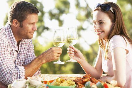 Couple Eating An Al Fresco Meal Stock Photo - 4499838