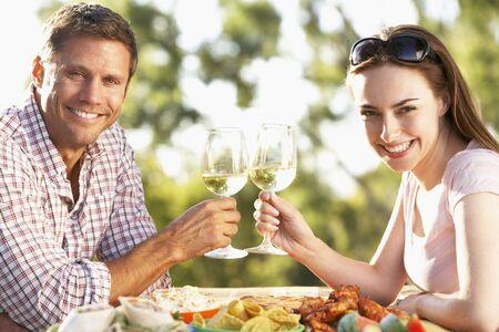 Couple Eating An Al Fresco Meal Stock Photo - 4499801