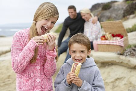 adult sandwich: Family Dining Al Fresco At The Beach