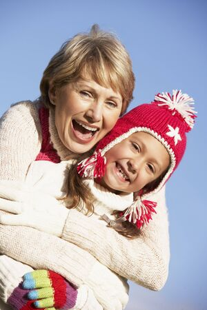 Grandmother Hugging Her Granddaughter Stock Photo - 4506564