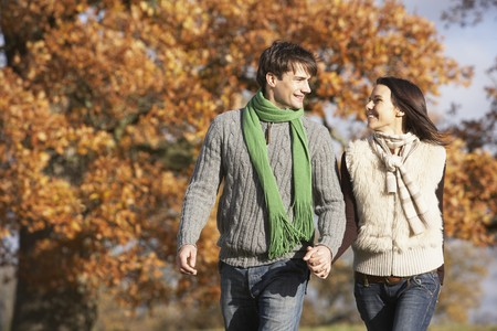 Young Couple Walking In Park Holding Hands photo