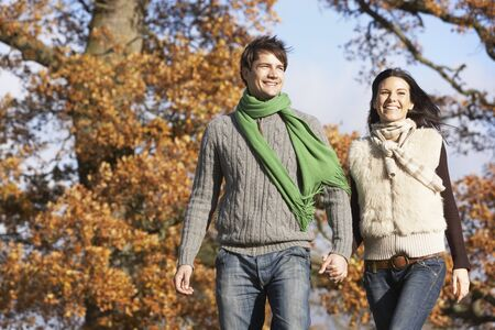 couple winter: Young Couple Walking In Park Holding Hands