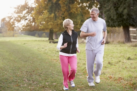 Senior Couple Power Walking In The Park Stock Photo - 4513977