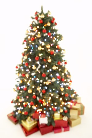 Abstract View Of Christmas Tree Against White Background photo