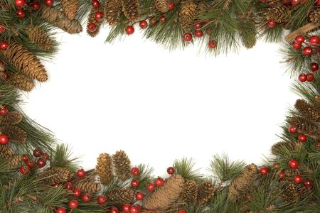 fir cones: Christmas Border Of Pine Branches Against White Background
