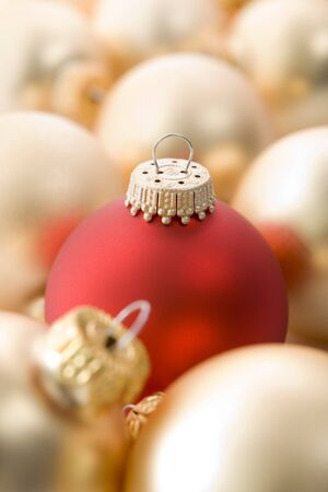Selection Of Red And Gold Christmas Tree Baubles photo