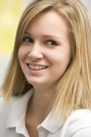 blond 16 year old: Portrait Of Teenage Girl Smiling Stock Photo