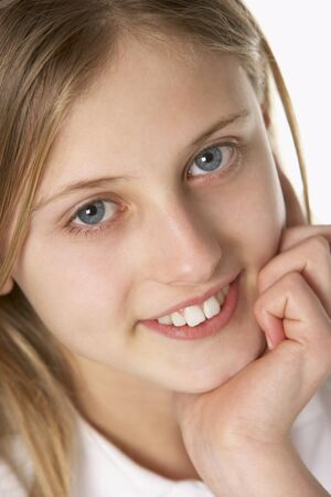 11 year old girl: Portrait Of Pre-Teen Girl Smiling