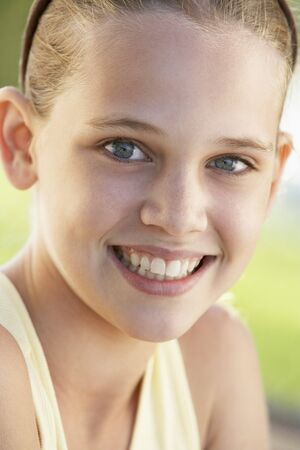11 year old girl: Portrait Of Girl Smiling
