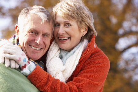 Portrait Of Senior Couple Hugging photo