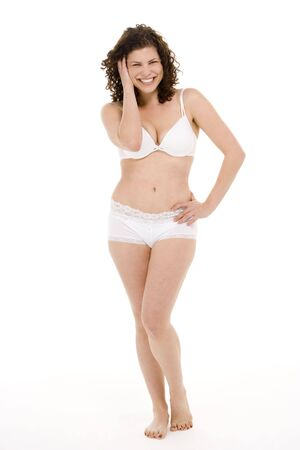 woman bra: Portrait Of Woman In Her Underwear Stock Photo