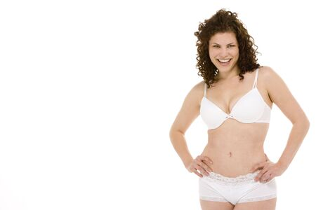young woman panties: Portrait Of Woman In Her Underwear Stock Photo