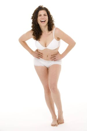 plus size: Portrait Of Woman In Her Underwear Stock Photo