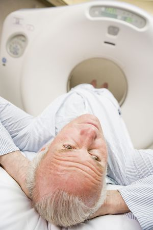 Patient About To Have A Computerized Axial Tomography (CAT) Scan photo
