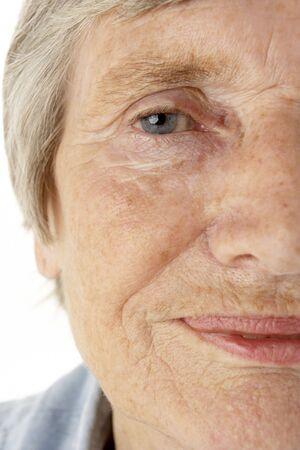 Close-up of senior woman photo
