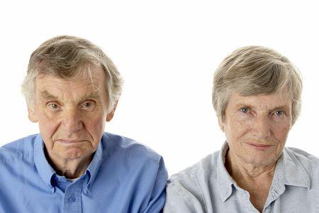 grumpy old man: Portrait of senior couple