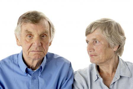 woman serious: Portrait of senior couple